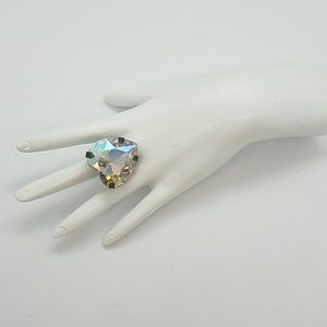 GASOLINE GLAMOUR Jewelry - HEART THROB CRYSTAL OPAL RHINESTONE HEART RING NEW